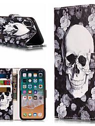 Недорогие -Кейс для Назначение Apple iPhone X / iPhone 8 Pluss / iPhone 8 Кошелек / Бумажник для карт / со стендом Чехол Черепа Твердый Кожа PU