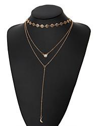 preiswerte -Damen Quaste Y Halskette / Layered Ketten - MOON Quaste, Modisch Gold 38 cm Modische Halsketten Schmuck 1pc Für Alltag, Bikini