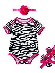abordables -bébé Fille Actif / Basique Quotidien / Vacances Rayé Bandes Manches courtes Coton Le maillot de corps Noir 59