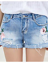 cheap -Women's Active Cotton Jeans / Shorts Pants - Floral Hole / Embroidered / Summer / Holiday