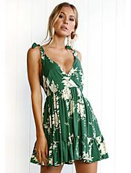 お買い得  -女性の外出/ビーチロンパー - 花の広い脚のストラップ
