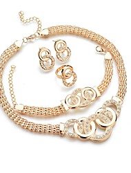 cheap -Women's Jewelry Set - Donuts, Twist Circle Classic, Fashion Include Bracelet Bangles / Stud Earrings / Pendant Necklace Gold For Daily / Ring