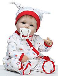 Недорогие -NPKCOLLECTION NPK DOLL Куклы реборн Кукла для девочек Девочки 18 дюймовый Силикон - как живой Подарок Безопасно для детей Non Toxic / Искусственные имплантации Голубые глаза