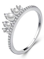Недорогие -Для пары Цирконий Кольца для пар / Обручальное кольцо - Искусственный жемчуг, Сплав принцесса Мода, Элегантный стиль В форме короны 6 / 7 / 8 Золотой / Серебряный / Розовое золото Назначение