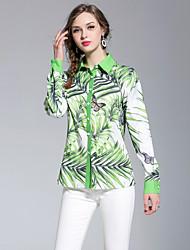 Недорогие -Жен. С принтом Рубашка Активный / Богемный Цветочный принт Тропический лист