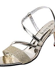 billige -Dame Sko PU Sommer Slingback Sko Sandaler Stilethæle Guld / Sølv