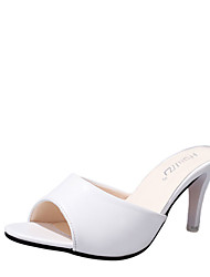 Недорогие -Жен. Обувь Полиуретан Лето Удобная обувь Сандалии На шпильке Открытый мыс Белый / Черный