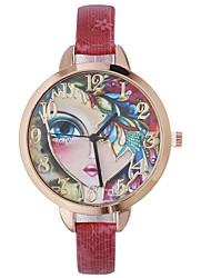 baratos -Xu™ Mulheres Relógio Elegante / Relógio de Pulso Chinês Criativo / Relógio Casual / Adorável PU Banda Casual / Fashion Preta / Azul / Vermelho / Mostrador Grande / Um ano