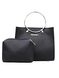 baratos -Mulheres Bolsas PU Conjuntos de saco 2 Pcs Purse Set Ziper Preto / Rosa / Khaki