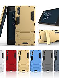 Недорогие -Кейс для Назначение Sony Xperia XZ со стендом Кейс на заднюю панель Однотонный Твердый ПК для Sony Xperia XZ