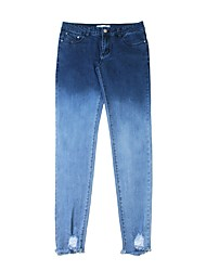 cheap -Women's Cotton Slim Jeans Pants - Solid Colored Low Waist / Going out