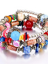 cheap -Women's Synthetic Tanzanite Layered / Stack Strand Bracelet - Vintage, Fashion, Multi Layer Bracelet Rainbow / Red / Blue For Birthday / Office & Career / 3pcs