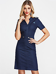 cheap -Women's Cotton / Denim Slim Dress - Solid Colored / Summer