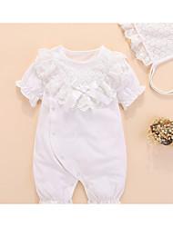 abordables -bébé Fille Couleur Pleine Manches courtes Une-Pièce