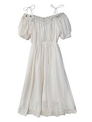 baratos -Mulheres Chifon Vestido Sólido Médio
