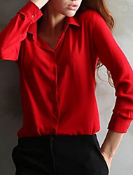 cheap -women's plus size blouse - solid colored shirt collar