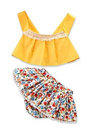 cheap -Baby Girls' Active / Basic Holiday / Going out Floral Tassel Short Sleeve Short Clothing Set / Toddler