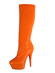cheap -Women's Shoes PU(Polyurethane) Fall & Winter Fashion Boots Boots Stiletto Heel Round Toe Knee High Boots Red / Green / Blue / Party & Evening