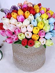 Недорогие -Искусственные Цветы 10 Филиал Классический Односпальный комплект (Ш 150 x Д 200 см) Вечеринка Свадебные цветы Тюльпаны Вечные цветы Букеты на стол