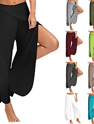 cheap -Women's Layered / High Split / Cropped Palazzo Wide Leg - Light Green, Light gray, Dark Green Sports Bottoms Yoga, Pilates, Dance Plus Size Activewear Lightweight, Quick Dry, Breathable Stretchy Loose