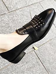 abordables -Femme Chaussures Cuir Nappa Printemps été Confort Mocassins et Chaussons+D6148 Talon Bas Bout rond Rivet Noir / Marron