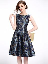 お買い得  -女性用 ヴィンテージ / ストリートファッション Aライン ドレス - プリント, フラワー 膝丈