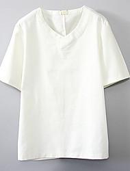 baratos -Mulheres Camiseta Sólido Algodão Decote V