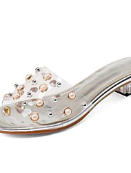 Недорогие -Жен. Обувь ПВХ Лето Удобная обувь Тапочки и Шлепанцы На низком каблуке Открытый мыс Жемчуг Белый