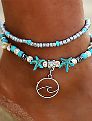 cheap -Turquoise Layered Anklet - Flower Vintage, Bohemian, Tropical Turquoise For Holiday / Bikini / Women's / Multi Layer