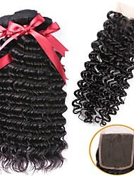 cheap -Indian Hair Curly Natural Color Hair Weaves / Extension / Hair Weft with Closure 3 Bundles With  Closure 8-22 inch Human Hair Weaves 4x4 Closure Best Quality / New Arrival / For Black Women Natural