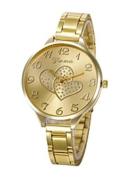 cheap -Women's Wrist Watch Chinese Creative / Lovely / Imitation Diamond Stainless Steel Band Heart shape / Bangle Silver / Gold / Rose Gold / Large Dial / One Year