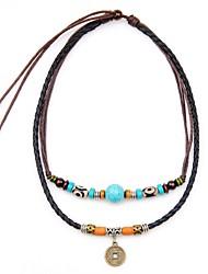abordables -Hombre Turquesa Collares con colgantes / Collares en capas - Vintage, Bohemio Negro 20 cm Gargantillas 1pc Para Festivos, Cumpleaños