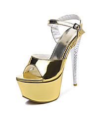 cheap -Women's Shoes Faux Leather Spring & Summer Basic Pump Sandals Stiletto Heel Peep Toe Gold / Light Purple / Silver / Wedding