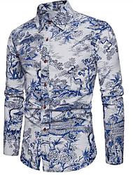 Недорогие -Муж. Большие размеры - Рубашка Контрастных цветов / Длинный рукав