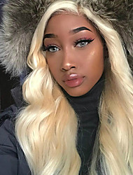 cheap -Virgin Human Hair Lace Front Wig Peruvian Hair / Body Wave Wavy Blonde Wig With Ponytail 150% With Baby Hair / New / Natural Hairline Blonde Women's Short / Long / Mid Length Human Hair Lace Wig