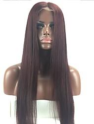 Недорогие -Remy Полностью ленточные Парик Бразильские волосы Прямой Вино Парик Стрижка каскад 130% С детскими волосами / Природные волосы / 100% ручная работа Вино Жен. Короткие / Длинные / Средняя длина