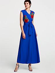 abordables -Mujer Corte Swing Vestido Floral Maxi Escote en Pico Negro / Verano