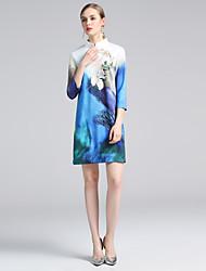 baratos -Mulheres Básico Evasê Vestido - Estampado, Floral Acima do Joelho Azul e Branco