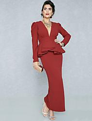 baratos -Mulheres Moda de Rua / Sofisticado Tubinho / Bainha Vestido - Peplum / Pregueado / Fenda, Sólido Longo