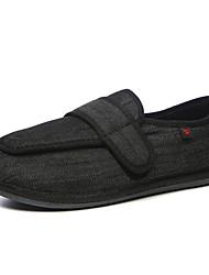 cheap -Men's Linen / Microfiber Autumn / Fall / Winter Comfort Sneakers Black / Dark Grey