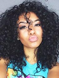 abordables -Cabello Remy Encaje Frontal Peluca Cabello Brasileño Rizado Peluca Corte a capas 130% Entradas Naturales / Para mujeres de color Negro Mujer Corta Pelucas de Cabello Natural