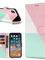 Недорогие -Кейс для Назначение Apple iPhone X / iPhone 8 Plus Кошелек / Бумажник для карт / со стендом Чехол Мрамор Твердый Кожа PU для iPhone X / iPhone 8 Pluss / iPhone 8