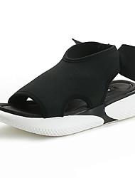 povoljno -Žene Cipele Elastična tkanina Ljeto Udobne cipele Sandale Ravna potpetica Obala / Crn / Pink