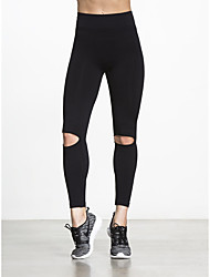 cheap -Women's Daily Sporty / Basic Legging - Solid Colored, Hole Mid Waist