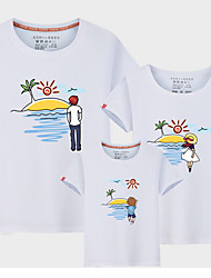 cheap -Kids Family Look Color Block Short Sleeve Tee