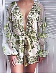 cheap -Women's Basic Romper - Floral, Lace up