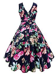 baratos -Mulheres Feriado Rodado Vestido Decote V Médio