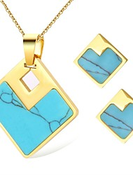 cheap -Women's Turquoise Jewelry Set - Natural, Fashion Include Stud Earrings / Necklace Gold For Ceremony / Date
