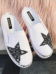 povoljno -Žene Cipele Koža Ljeto Udobne cipele Klompe i natikače Ravna potpetica Okrugli Toe Svjetlucave šljokice Obala