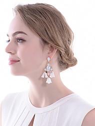 abordables -Femme Zircon Boucles d'oreille goutte - Goutte, Fleur Classique, Elégant Blanc et argent Pour Mariage / Soirée